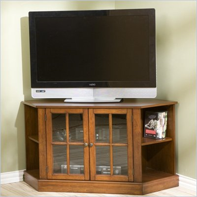 Southern Enterprises Thomas Wood Corner TV Stand in Walnut