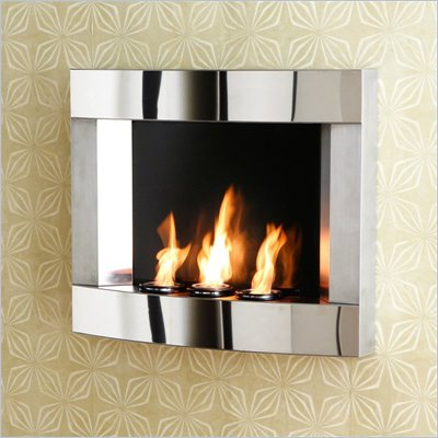 Southern Enterprises Stainless Steel Wall Mount Gel Fireplace
