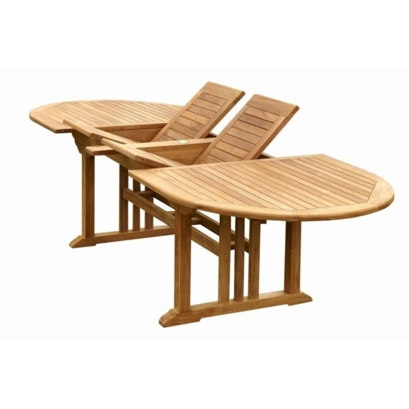 Anderson Teak Sahara Oval Butterfly Patio Dining Table in Natural