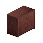 Global Total Office Genoa 2 Drawer Lateral Wood File Storage Cabinet in Mahogany