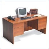 Global Adaptabilities Double Pedestal Wood Credenza Desk in Avant Honey