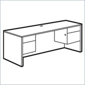 Global Adaptabilities Kneespace Credenza in Avant Honey
