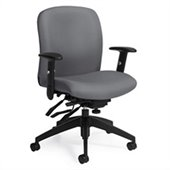 Global Truform Medium Back Multi Tilter Chair with Arms in Slate