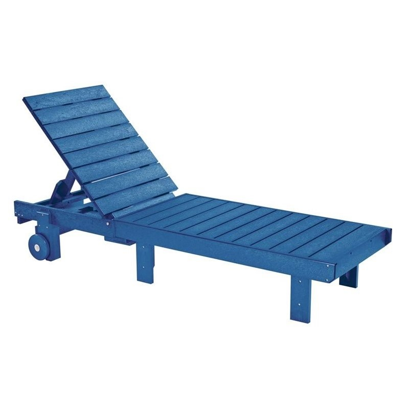 Cr Plastic Generations Patio Chaise Lounge With Wheels In Blue