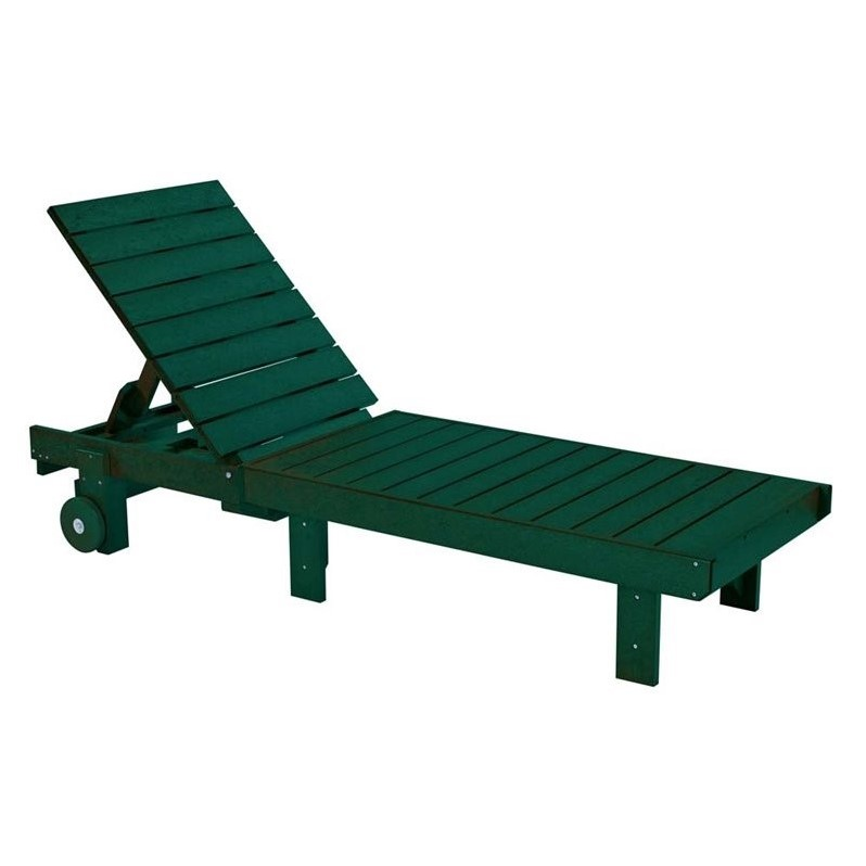 Cr Plastic Generations Patio Chaise Lounge With Wheels In Green