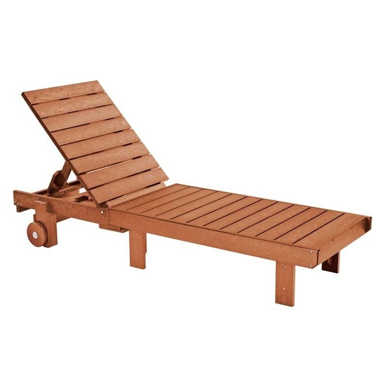 Cr Plastic Generations Patio Chaise Lounge With Wheels In Cedar