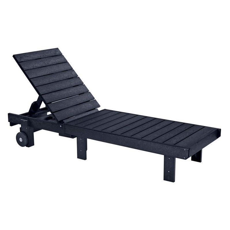 Cr Plastic Generations Patio Chaise Lounge With Wheels In Black
