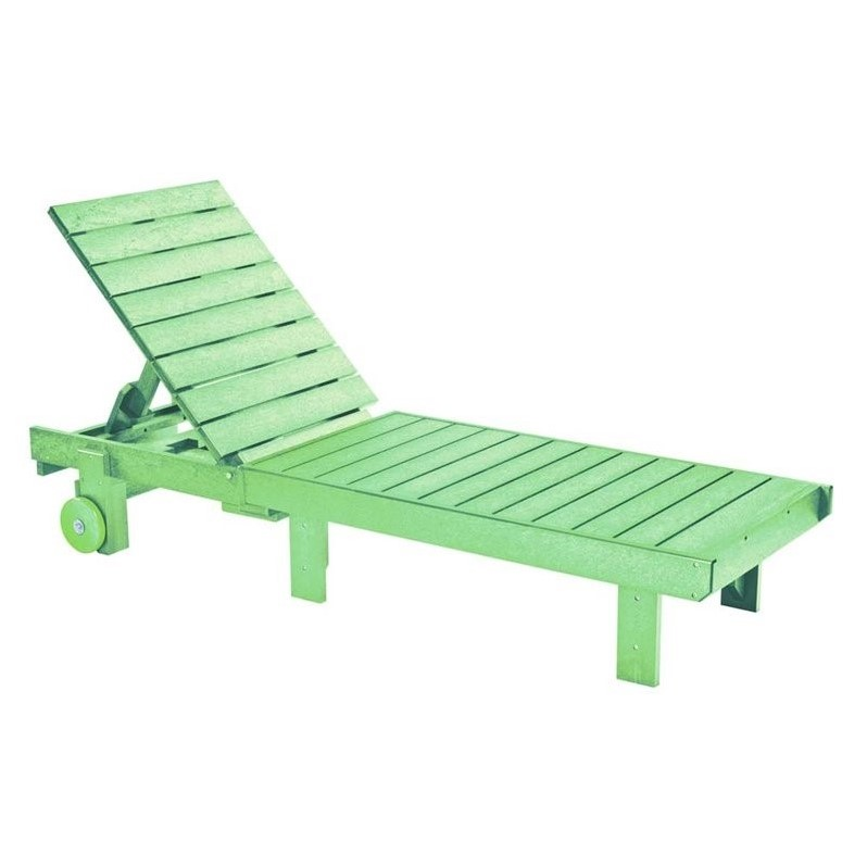 Cr Plastic Generations Patio Chaise Lounge With Wheels In Lime Green