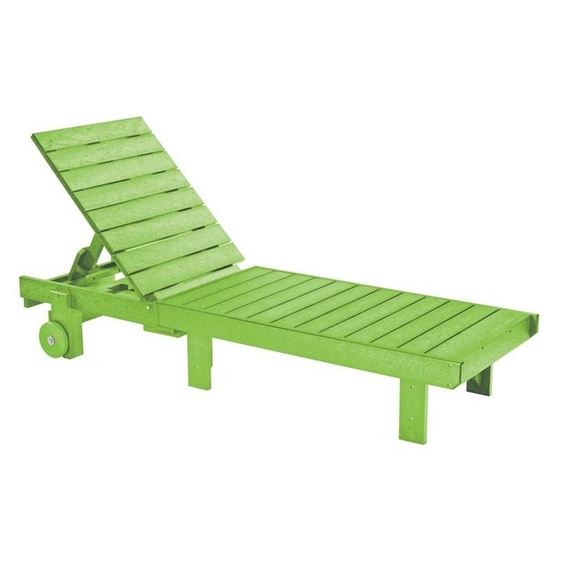 Cr Plastic Generations Patio Chaise Lounge With Wheels In Kiwi Lime