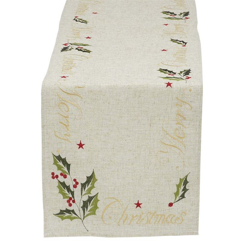 Design Imports 70 Merry Christmas Embroidered Table Runner