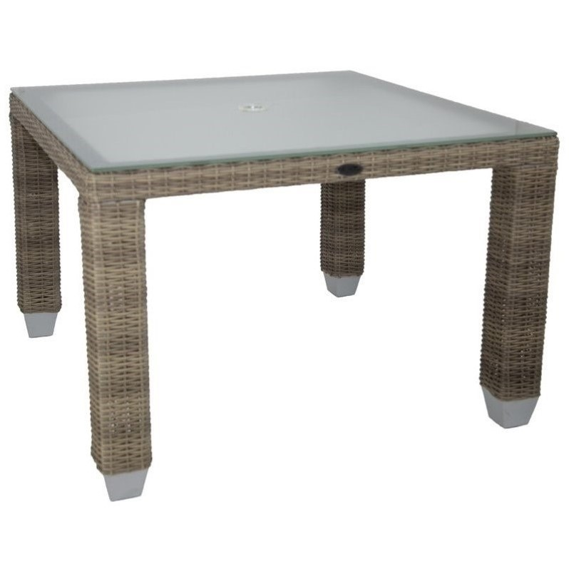 Patio Heaven Palisades Square Patio Dining Table in Gray