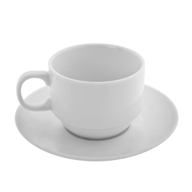 10 Strawberry Street Bistro Tea Cup and Saucer in White (Set of 6) BISTRO-106