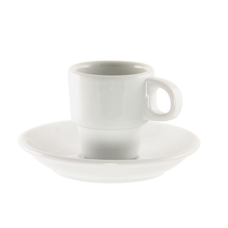 10 Strawberry Street Bistro Demi Cup and Saucer in White (Set of 6)