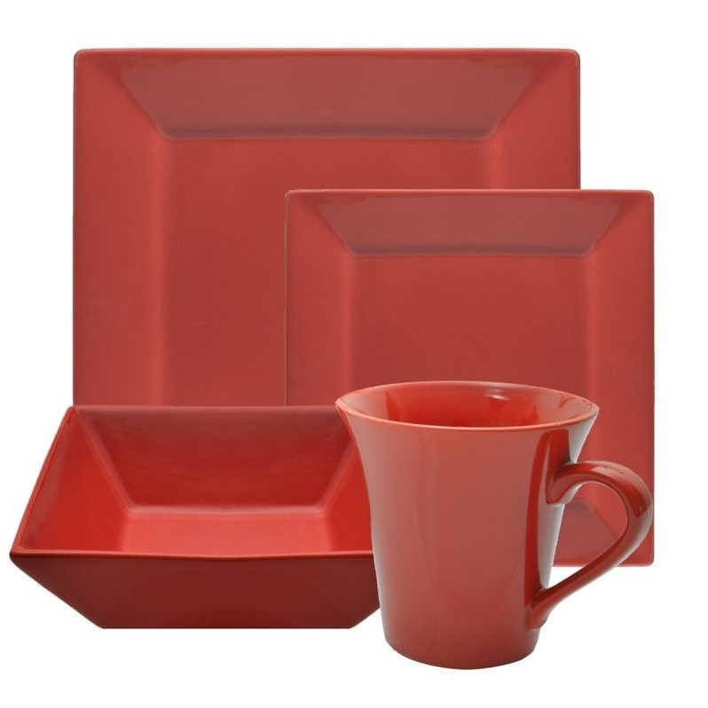 10 Strawberry Street Nova 16 Piece Square Dinnerware Set in Red