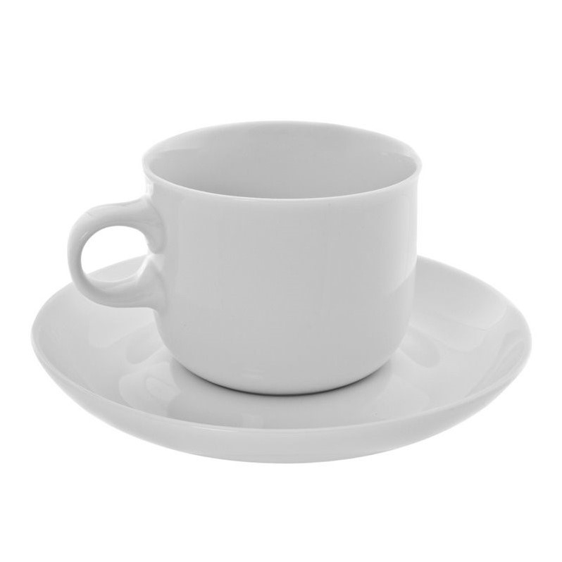 10 Strawberry Street Taverno Tea Cup and Saucer in White (Set of 6) TAV-96