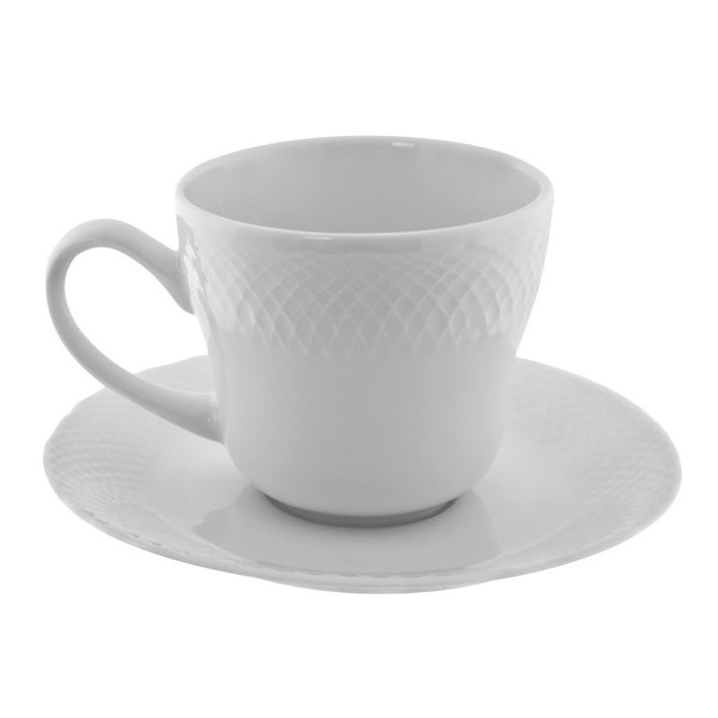 10 Strawberry Street White Wicker Cup and Saucer in White (Set of 6) WW00096