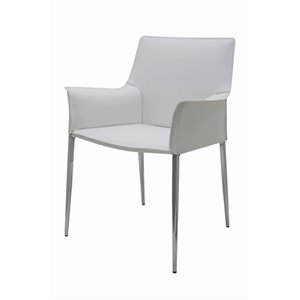 Nuevo Colter Leather Dining Arm Chair in White
