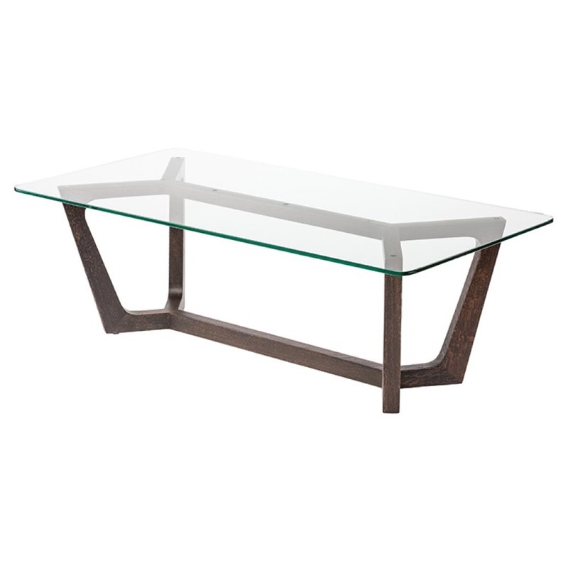Nuevo Siku Glass Top Coffee Table in Seared Brown