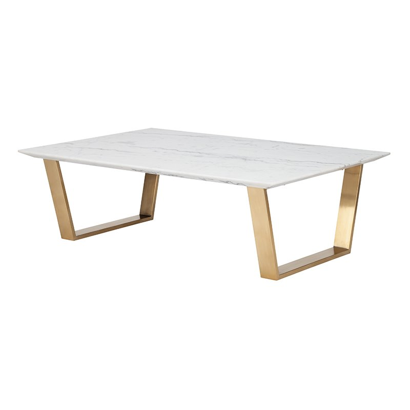 Nuevo Catrine Marble Top Coffee Table in Gold and White