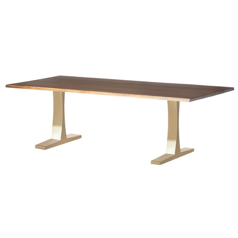 Nuevo Toulouse 78 Dining Table in Seared Brown and Gold