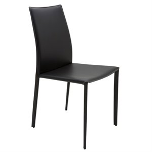 Nuevo Sienna Leather Dining Side Chair in Black