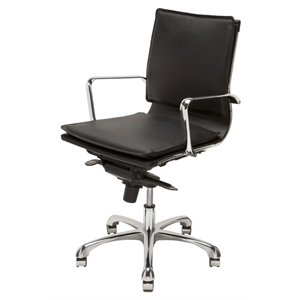 Nuevo Carlo Faux Leather Low Back Office Chair in Black