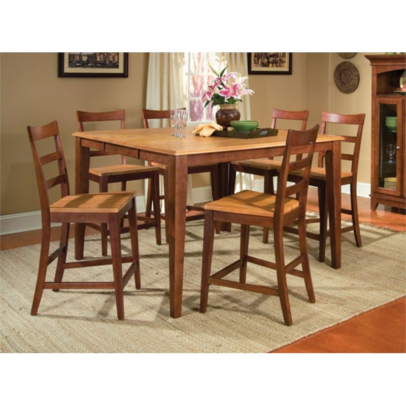 A-America Bristol Point Counter Height Dining Table in Chestnut