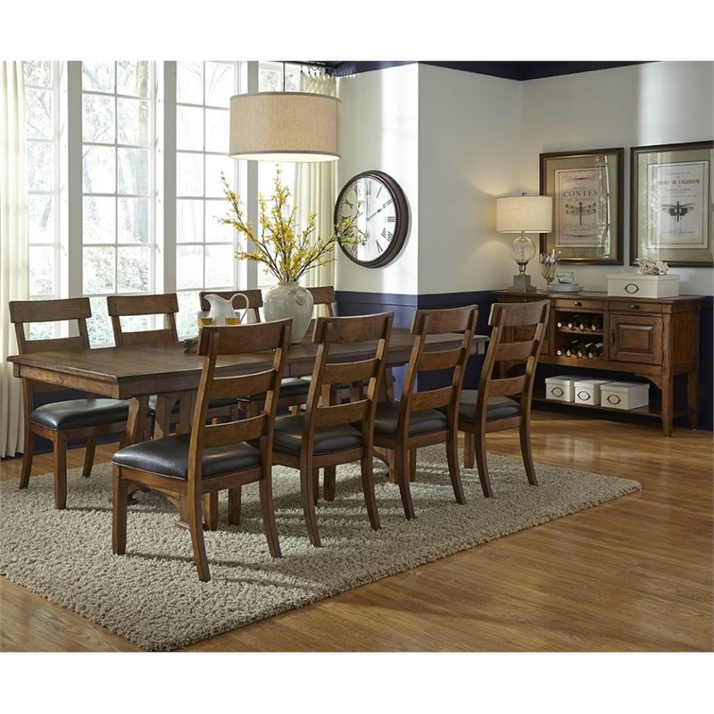 A-America Ozark 10 Piece Extendable Dining Set in Warm Pecan