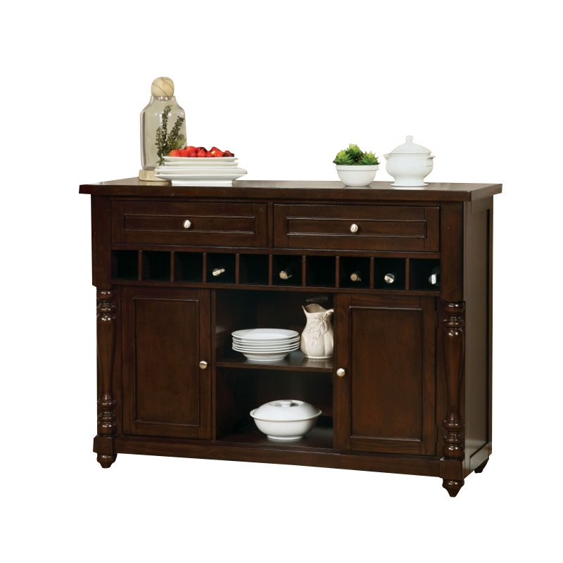 Furniture of America Naveah Wine Rack Buffet in Antique Cherry