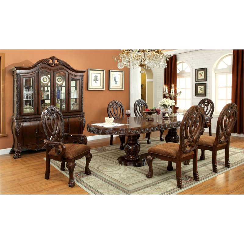 Furniture of America Madison 7 Piece Extendable Dining Set in Cherry