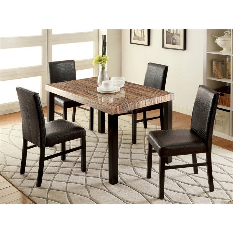 Furniture of America Kenneth Faux Marble Dining Table in Black