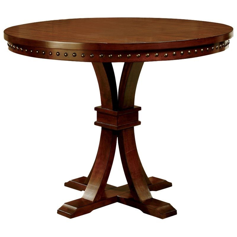 Furniture of America Duran Round Dining Table in Natural Wood