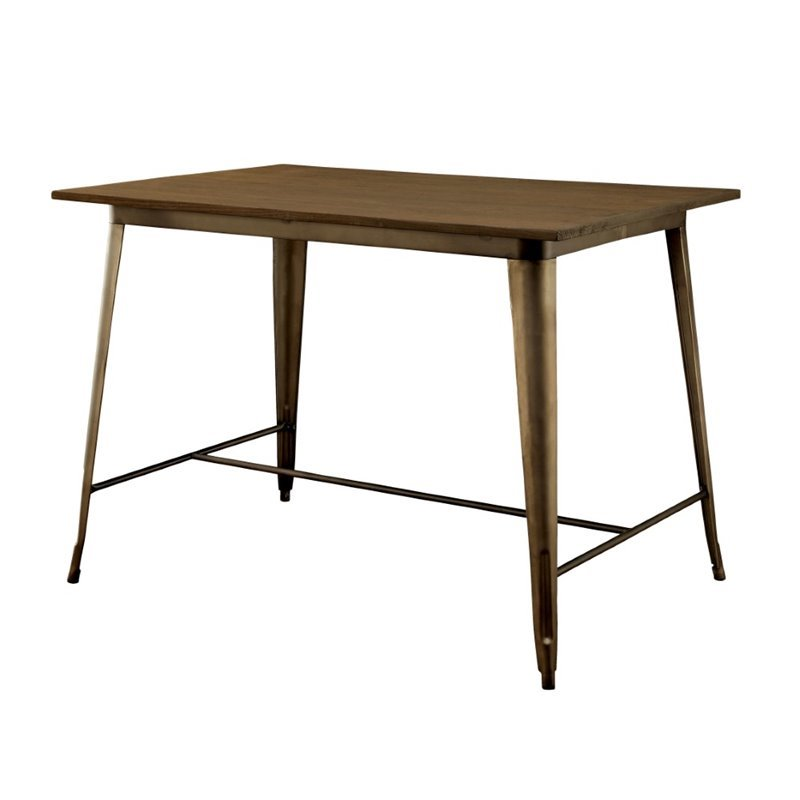Furniture of America Mayfield Counter Height Dining Table in Elm