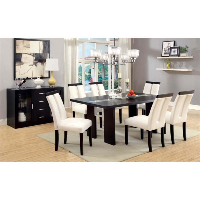 Furniture of America Jalen 7 Piece LED Dining Set in Espresso