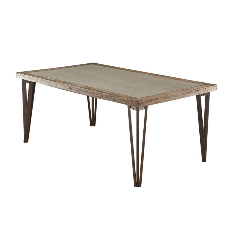Furniture of America Sibley Insert Dining Table in Weathered Elm
