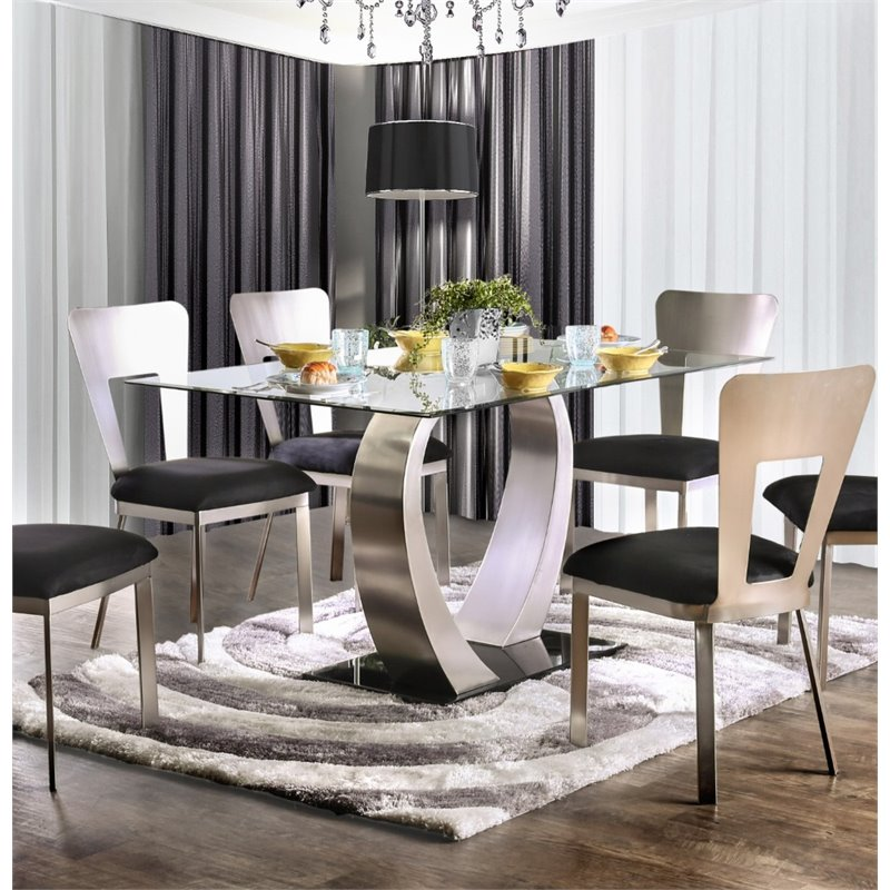 Furniture of America Genaveve Dining Table in Satin