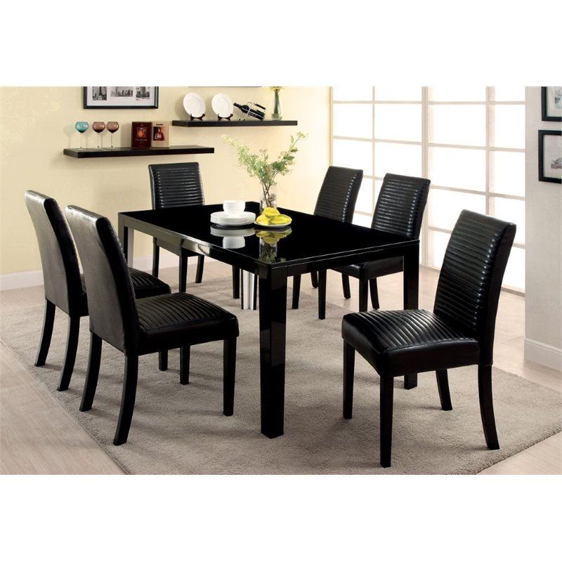 Furniture of America Werther Dining Table in Black