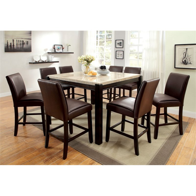 Furniture of America Hudson 9 Piece Counter Height Dining Set in Wood