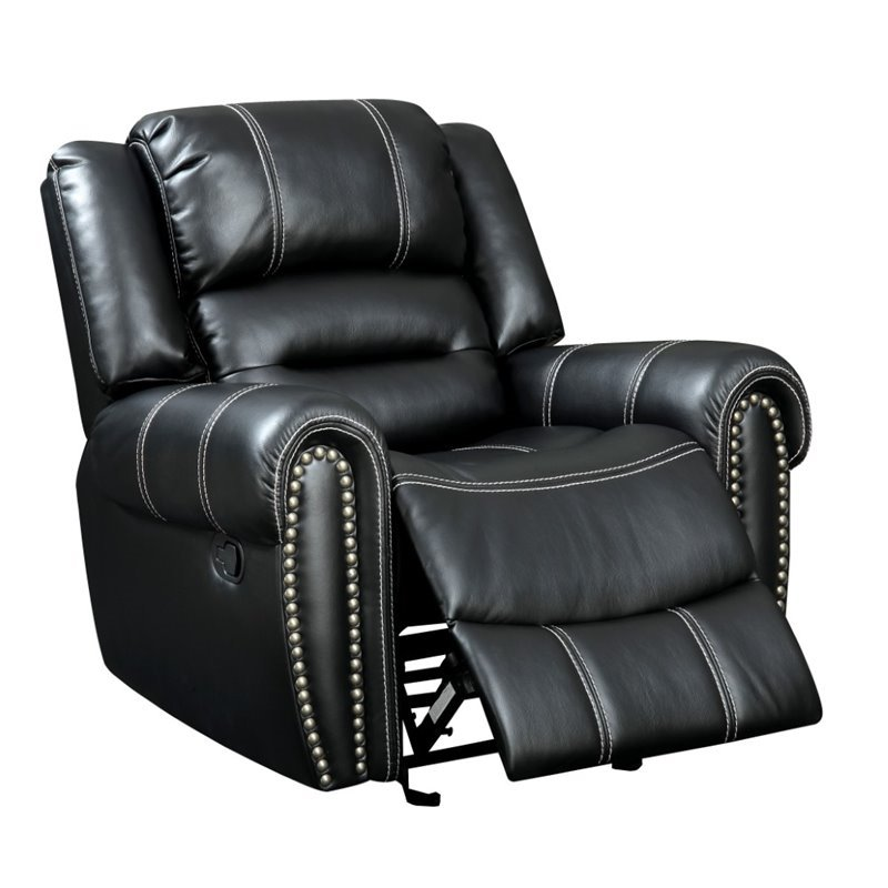 Furniture Of America Stinson Faux Leather Recliner In Black