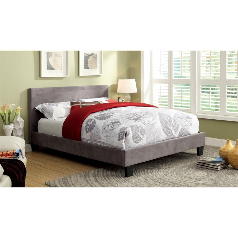 Furniture of America Ramone Twin Upholstered Panel Bed in Gray