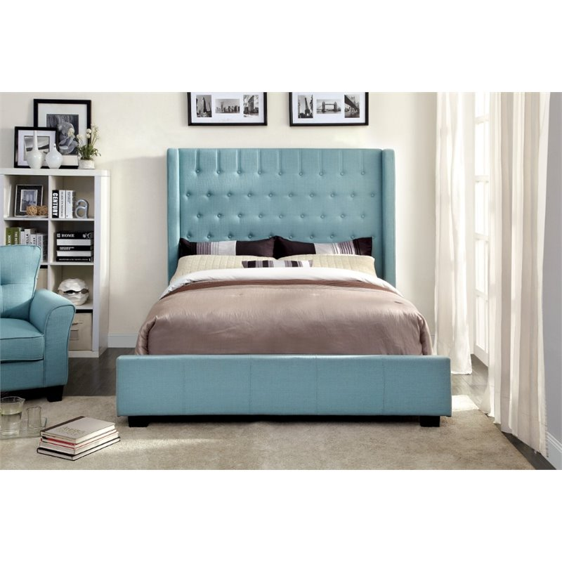 Furniture of America Elm Queen Tufted Upholstered Bed in Blue