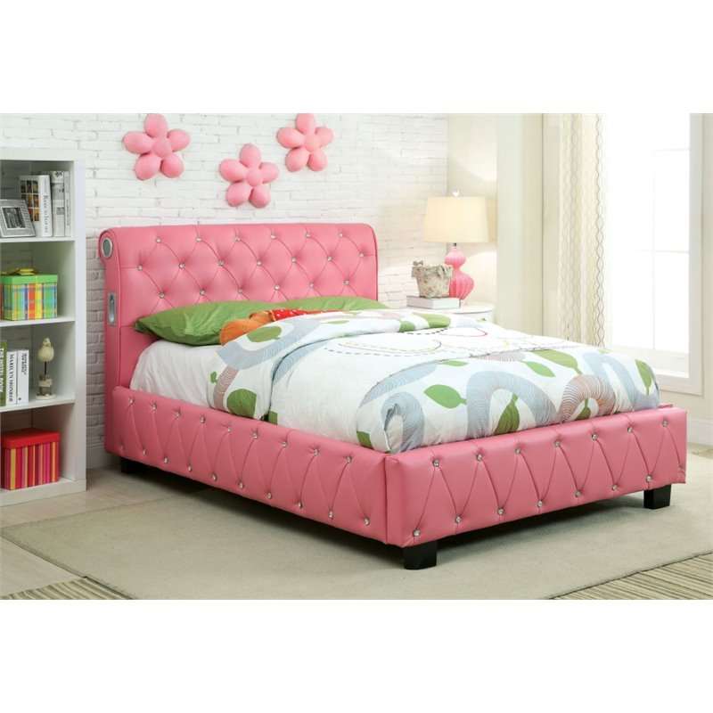 Furniture of America Morella Twin Tufted Upholstered Platform Bed