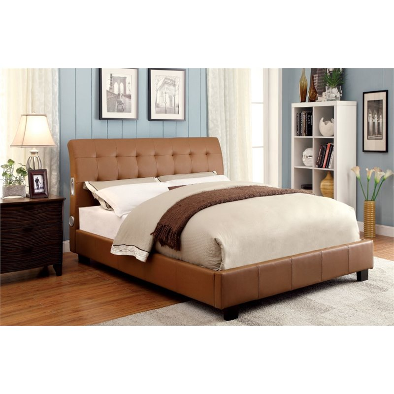 Furniture of America Junnie Full Tufted Upholstered Bed in Camel