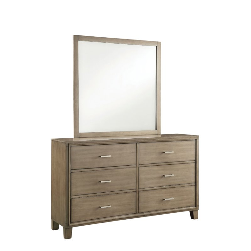 Furniture of America Realm 6 Drawer Dresser and Mirror Set in Gray