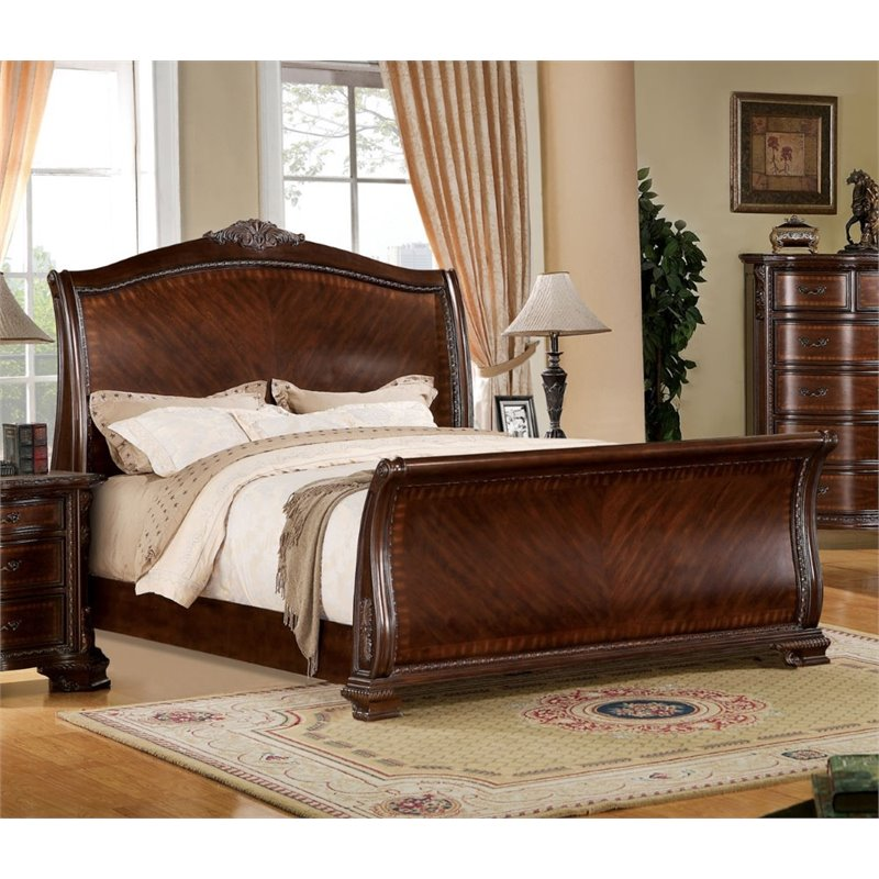 Furniture of America Maddington Queen Sleigh Bed in Brown Cherry