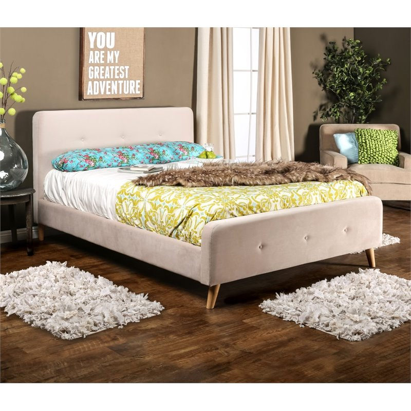Furniture of America Celia Full Tufted Flannelette Platform Bed