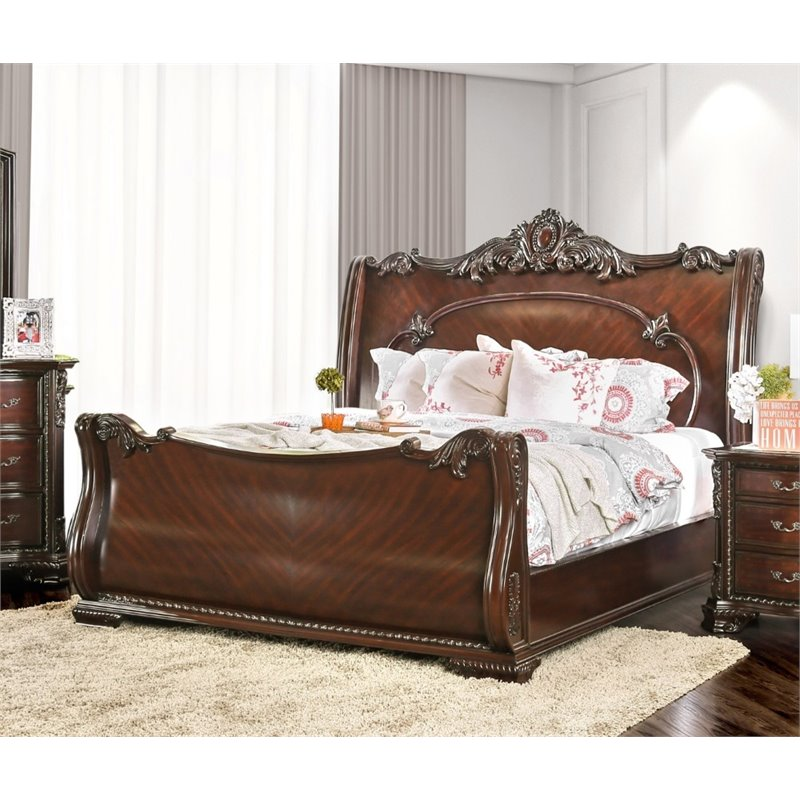 Furniture of America Helvetta King Sleigh Bed in Brown Cherry