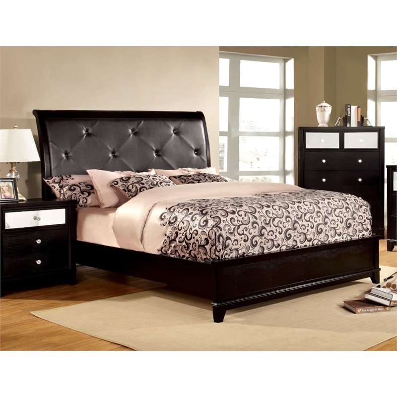 Furniture of America Lillianne King Tufted Leather Bed in Black