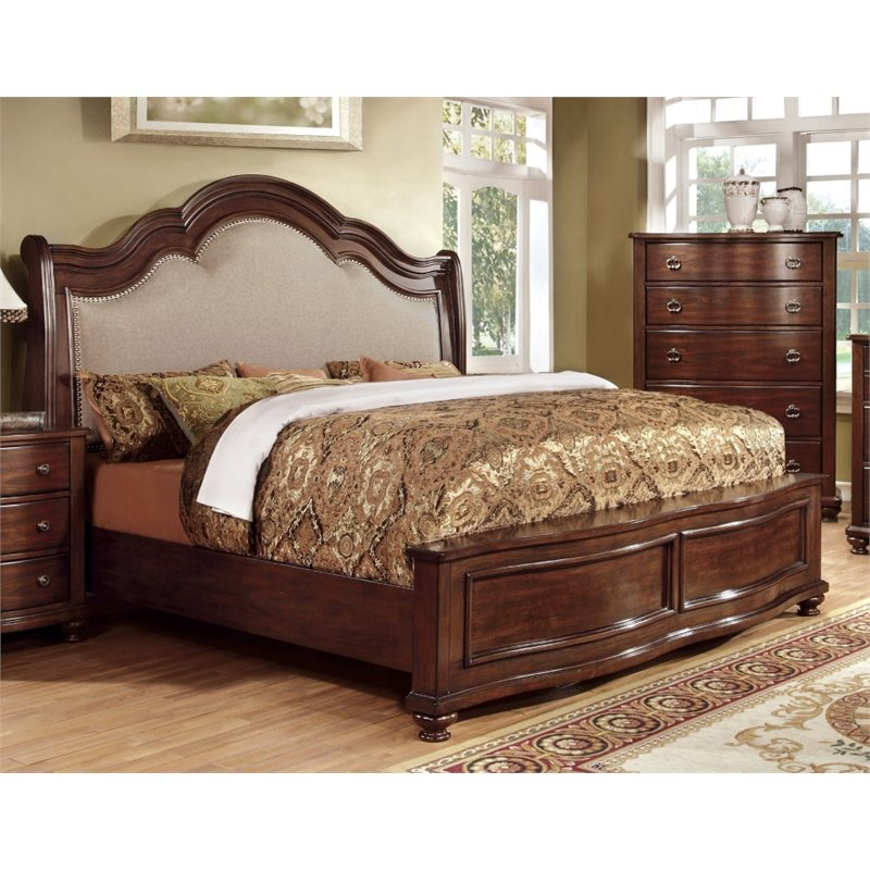 Furniture of America Marcella California King Upholstered Panel Bed
