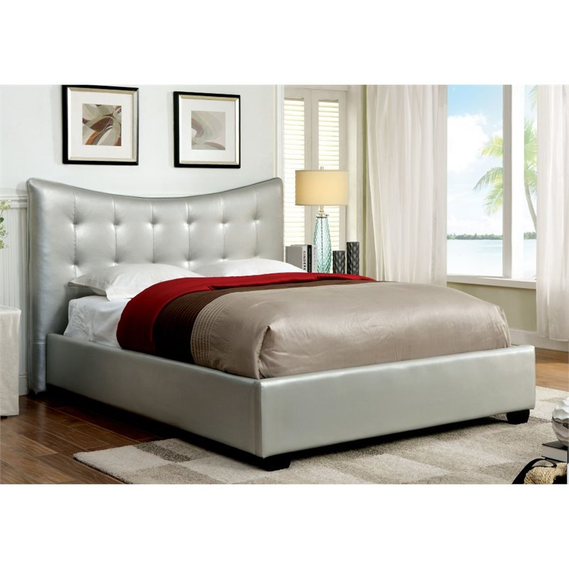 Furniture of America Salim Queen Tufted Leather Bed in Silver